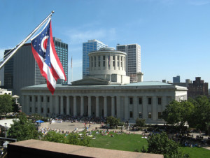 statehouse with flag